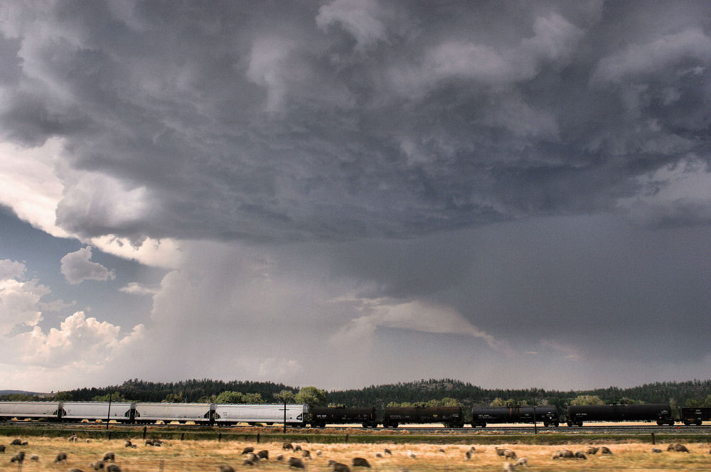 Summer storm and train, Montana Landscape