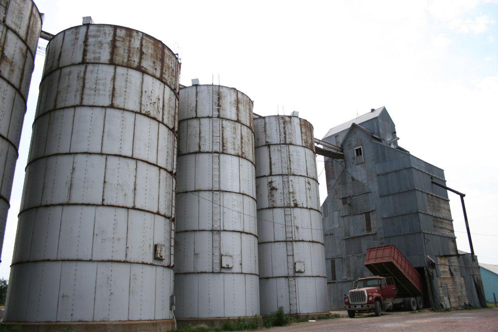 Truck unloading grain, Nebraska