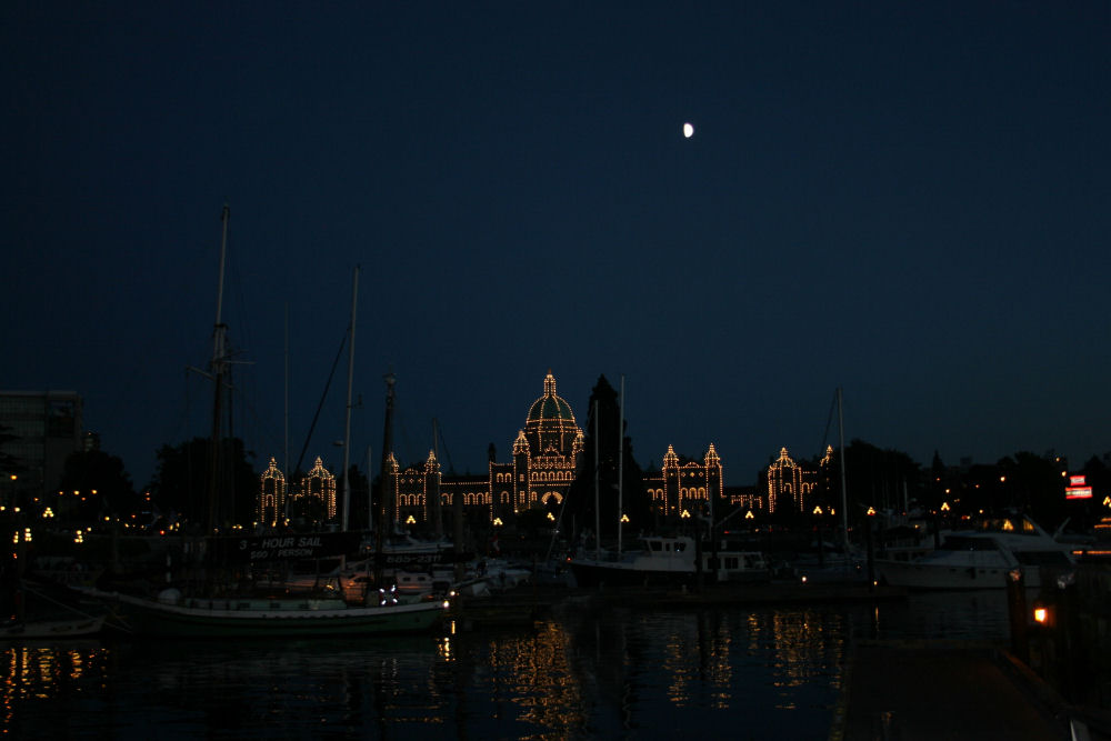 Victoria, BC harbour, Parliament Building in lights