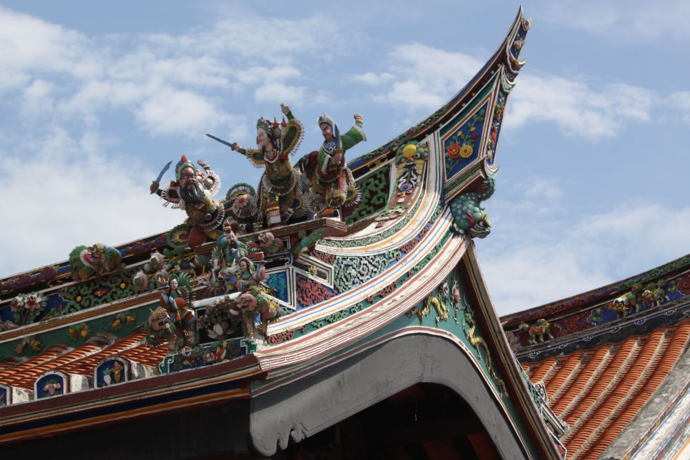 Ornate architectural detail on The Cheng Hoon Teng temple, Malacca, Malaysia
