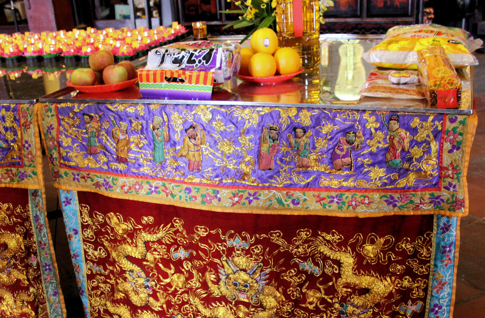 Prayers and offerings for the deceased, Cheng Hoon Teng temple, Malacca, Malaysia