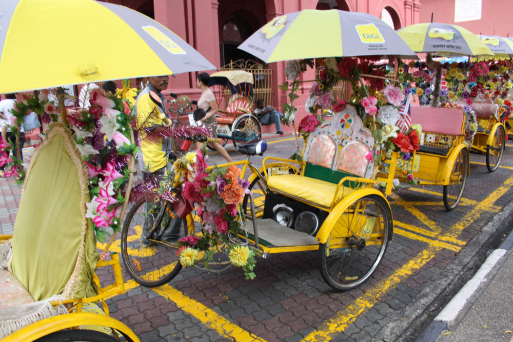 Bike taxis, the best way to see the historic sights in Malacca, Malaysia