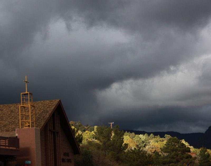 Winter storm, downtown Sedona, AZ