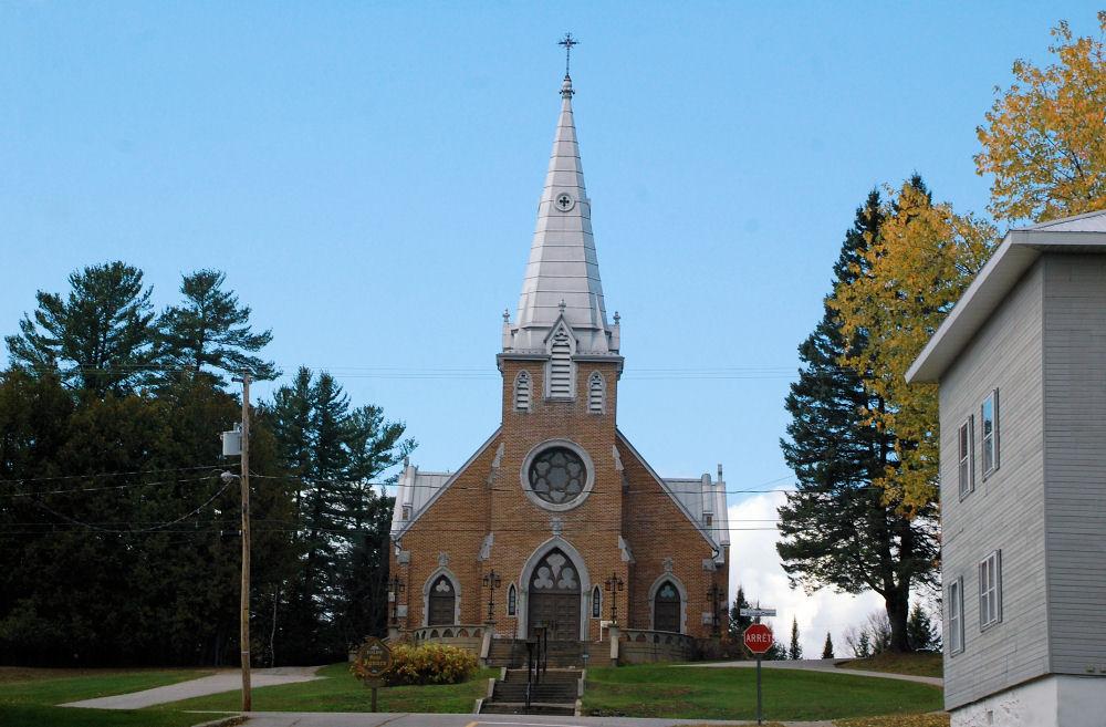 Catholic church, Nominingue, in the Laurentian Mountains, PQ, Canada