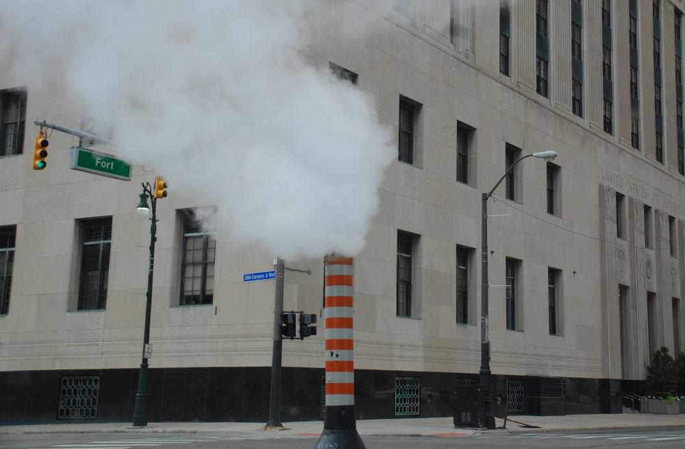 Steam from underground pipes, Detroit, Michigan