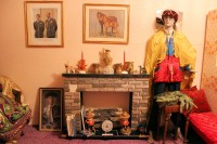 Theme display with antiques and creepy maniquins, Rowley, Alberta Museum