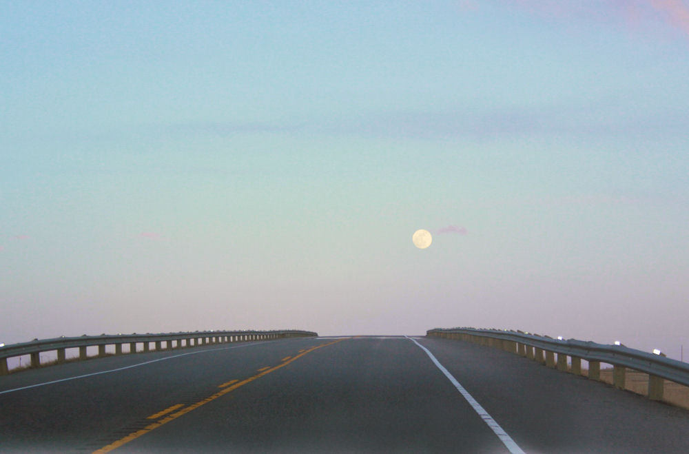 Full moon, Hwy 1 South of Calgary