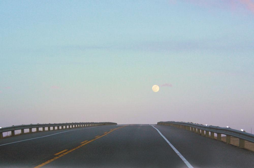Full moon, Hwy 1 South of Calgary