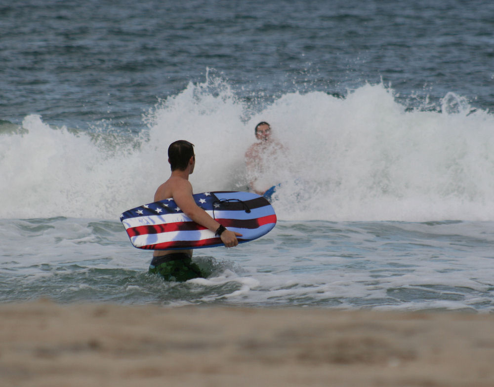 Adam with boogie-board, Kitty Hawk, Outer Banks, NC