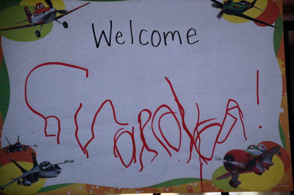 Cameron's Welcome Grandpa sign