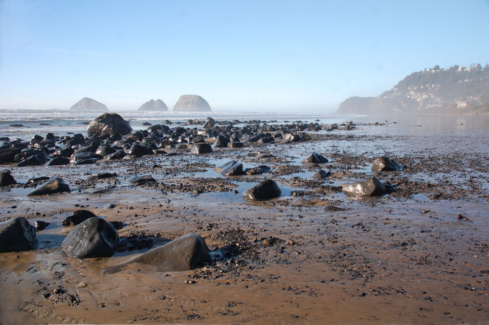 Oceanside, OR beach, unusually rocky