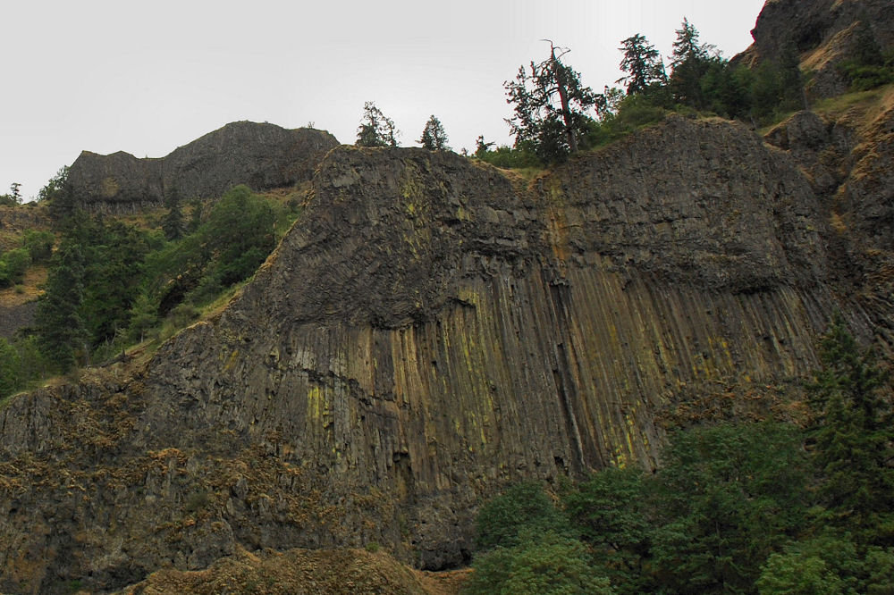 Basalt cliffs by the Columbia River Gorge near Hood River, OR