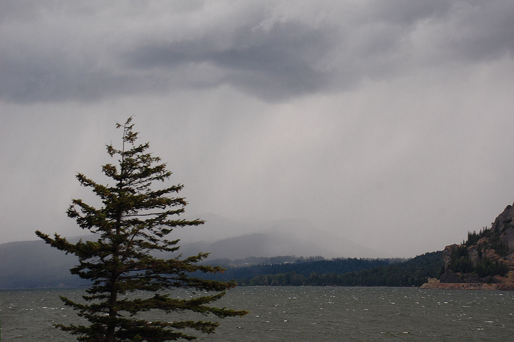 Rain across the Columbia River Gorge near Hood River, OR