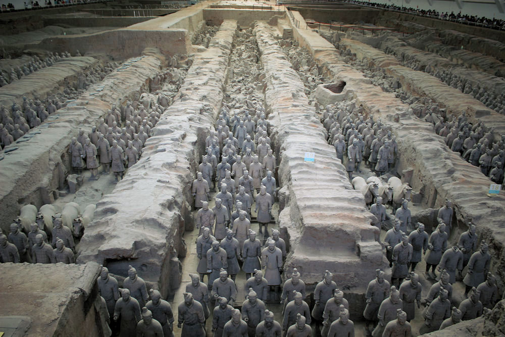 Terracotta Warriors and crowds of tourists, Xi'an, China