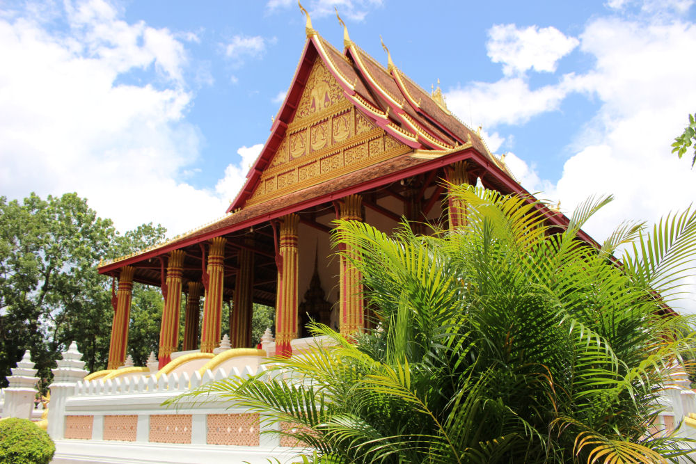 One of many Buddhist temples in Vientiane Laos