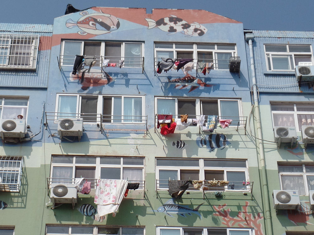 Painted apartment buildings in Qingdao, China