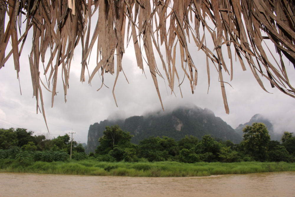 Nam Song River, rainy season in Vang Vieng, Laos