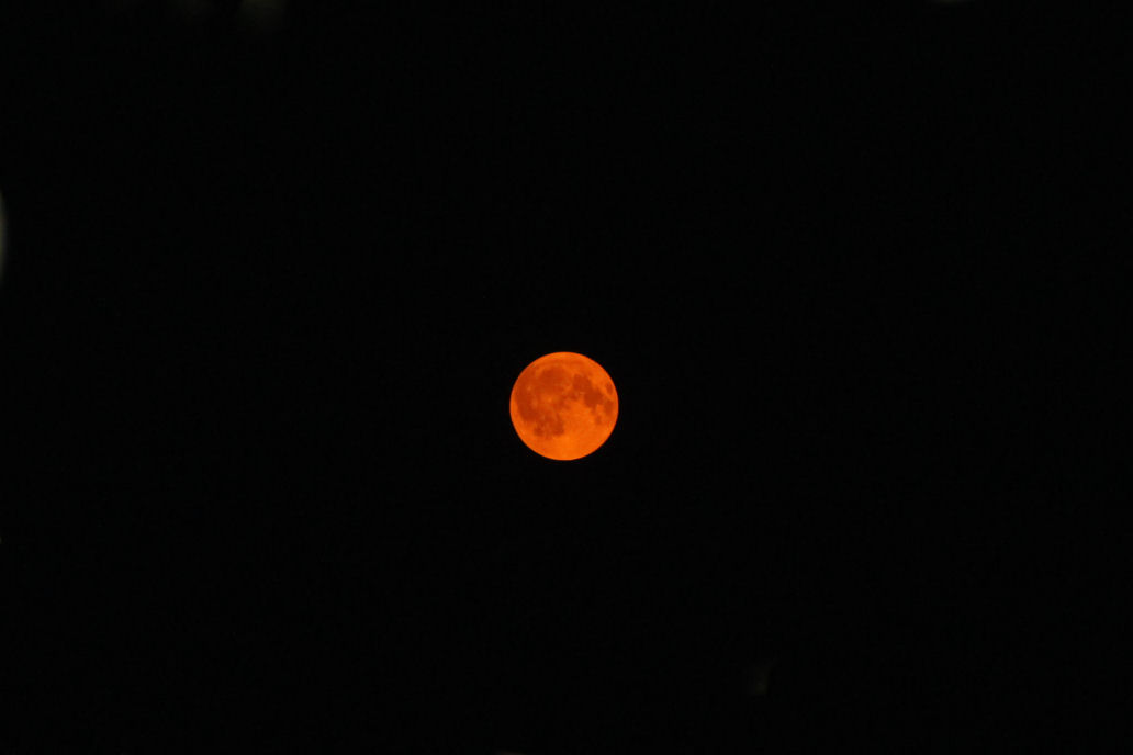 Orange moon due to  smoke in the atmosphere from forest fires - Hillsboro OR