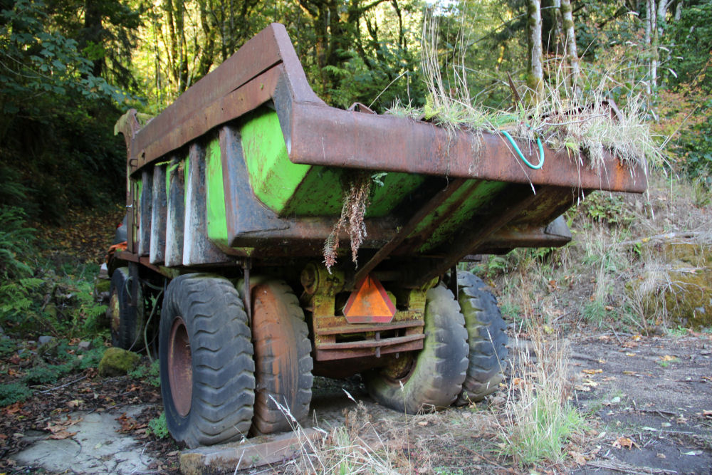 1948 Euclid 28FD off-highway end dump truck abandoned on Trask River Rd., Tillimook Oregon